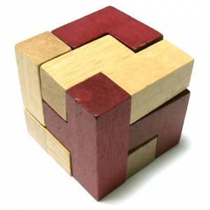 De madera - Cubo de madera 2 colores (madera y rojo)